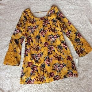 NWT Speechless yellow floral bell sleeve dress
